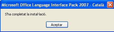 Final instal·lació paquet de llengua Office 2007