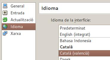 Català (valencià) a la selecció d'idiomes