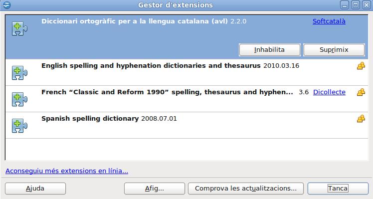 Corrector avl (linux) instal·lat