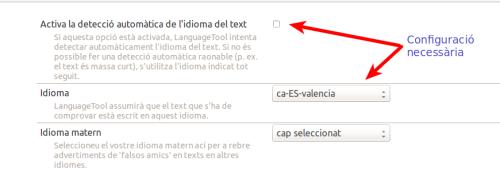 Preferències del LanguageToolFX